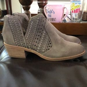 Vince camuto suede woven booties